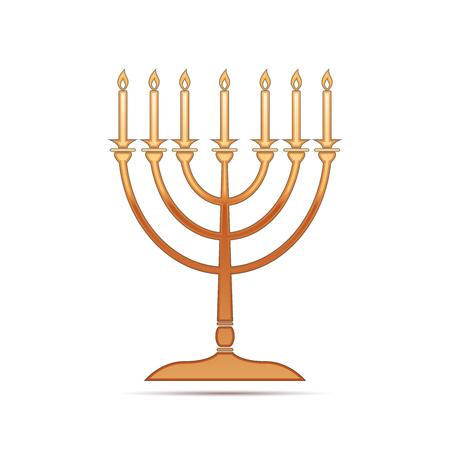 hanukkah menorah: Gold Hanukkah menorah icon on white background . Vector Illustration