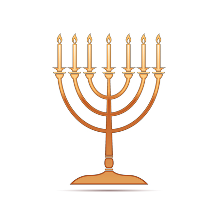Gold Hanukkah menorah icon on white background . Vector Illustration