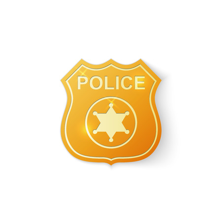 Gold Police badge icon on white background .