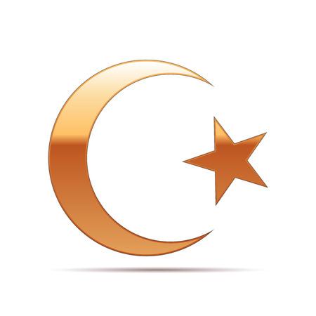 cresent: Gold Islam symbol icon on white background . Vector Illustration