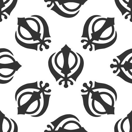 sikh: Khanda Sikh icon pattern on white background. Adobe illustrator