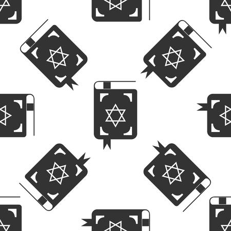 kippah: Jewish torah book icon pattern on white background. Adobe illustrator