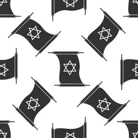 talmud: Star of David on scroll icon pattern on white background. Adobe illustrator