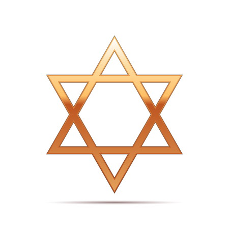 Gold Star of David icon on white background . Vector Illustration Illustration