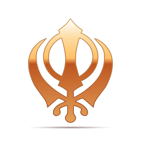sikh: Gold khanda Sikh icon on white background . Vector Illustration