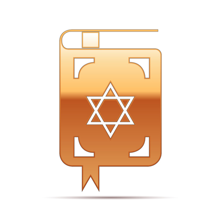 hebrew bible: Gold Jewish torah book icon on white background . Vector Illustration