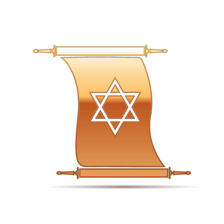 Gold Star of David on scroll icon for white background . Vector Illustration Illustration