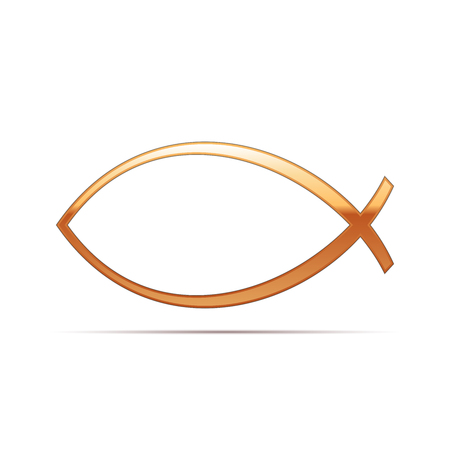 ichthys: Gold Christian fish icon on white background . Vector Illustration