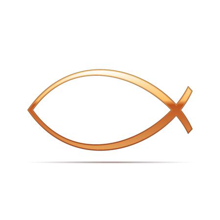 ictus: Gold Christian fish icon on white background . Vector Illustration