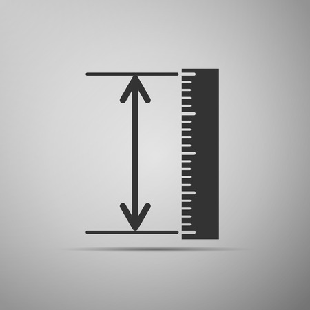 adobe: The measuring height and length icon. Ruler, straightedge, scale symbol on grey background. Adobe illustrator