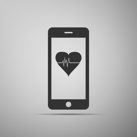 heart monitor: Smartphone with heart rate monitor function on grey background. Adobe illustrator