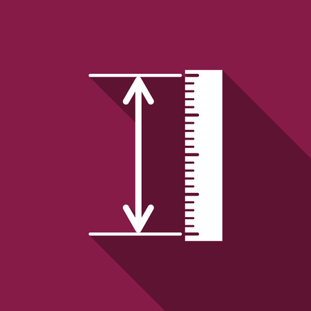 straightedge: The measuring height and length icon. Ruler, straightedge, scale symbol flat icon with long shadow. Vector Illustration Illustration