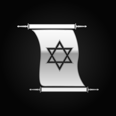 hebrew bible: Silver Star of David on scroll icon to black background. Vector Illustration Illustration
