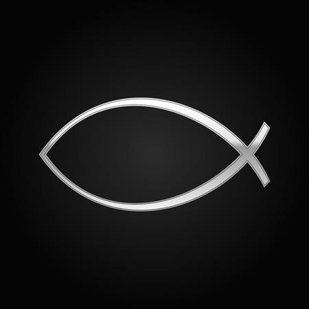 ictus: Silver Christian fish icon on black background. Vector Illustration