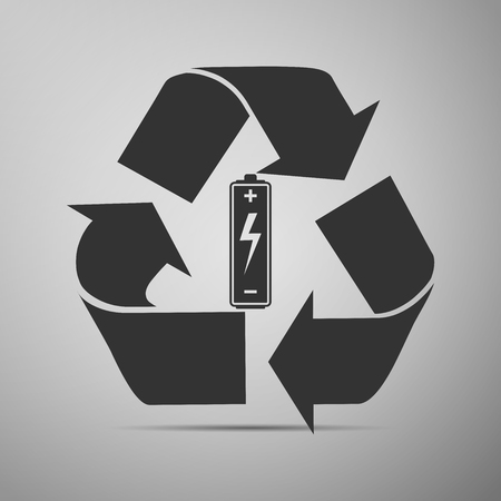 adobe: Battery with recycle symbol - renewable energy concept flat icon on grey background. Adobe illustrator Illustration