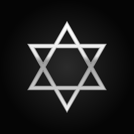 hanuka: Silver Star of David icon on black background. Vector Illustration Illustration