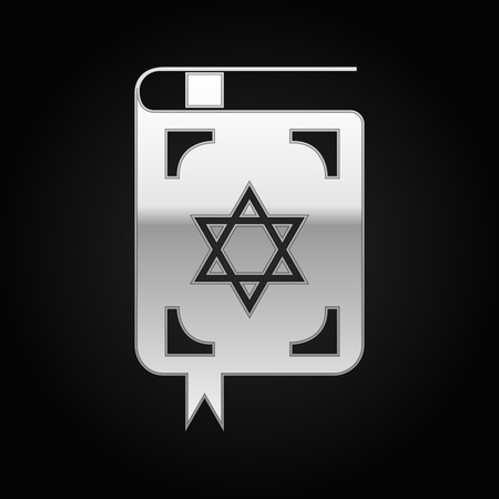 kippah: Silver Jewish torah book icon on black background. Vector Illustration