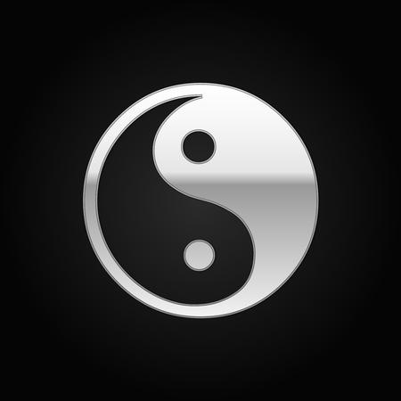contrasts: Silver Yin Yang symbol icon on black background. Vector Illustration Illustration