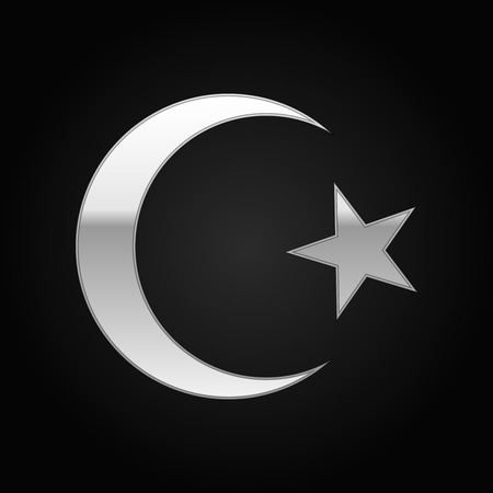 cresent: Silver Islam symbol icon on black background. Vector Illustration Illustration