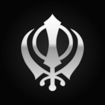 sikh: Silver khanda Sikh icon on black background. Vector Illustration