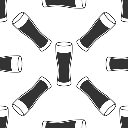 reflection of life: Glass of beer icon seamless pattern on white background. Vector Illustration