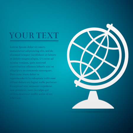 flat earth: Geography earth globe flat icon on blue background. Vector Illustration