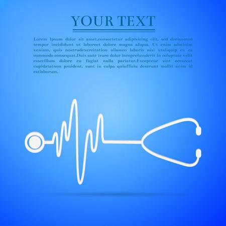 Stéthoscope avec un c?ur battre icône plate sur fond bleu. Vecteurs