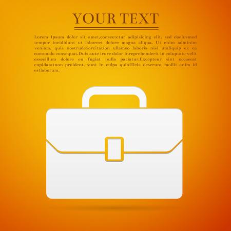 business case: Business case flat icon on orange background. Illustration