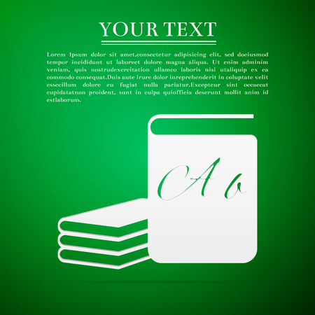 videobook: Book flat icon on green background. Vector Illustration Illustration