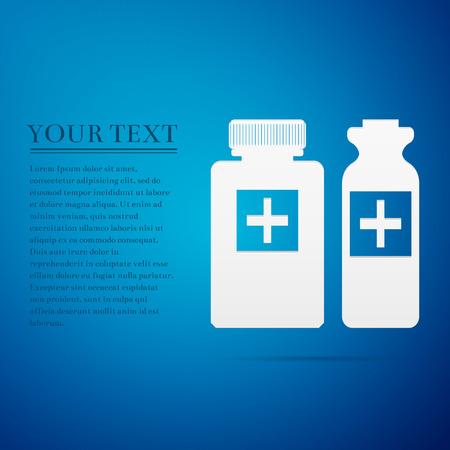 medical bottles: Medical bottles flat icon on blue background.