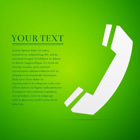 Telephone handset flat icon on green background. Adobe illustrator