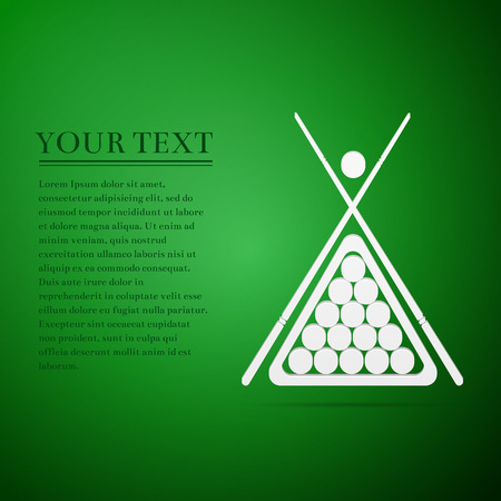billiards rooms: Billiard cue and balls flat icon on green background. Vector Illustration