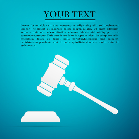 auctioneer: Hammer of judge or auctioneer flat icon on blue background. Vector Illustration