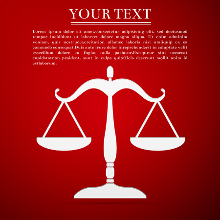 acquittal: Justice scales silhouette flat icon on red background. Vector Illustration