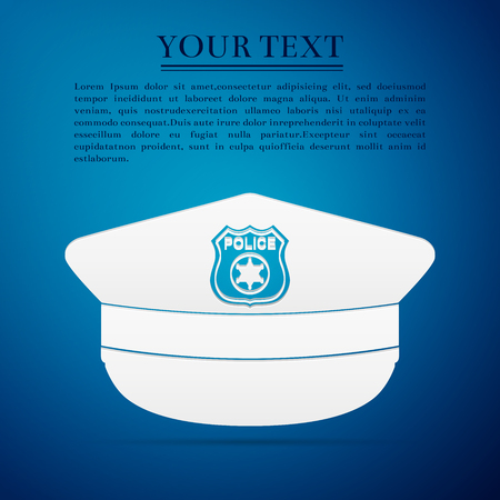 cockade: Police cap flat icon on blue background. Vector Illustration