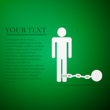 detention: Prisoner with ball on chain flat icon over green background. Vector Illustration Illustration