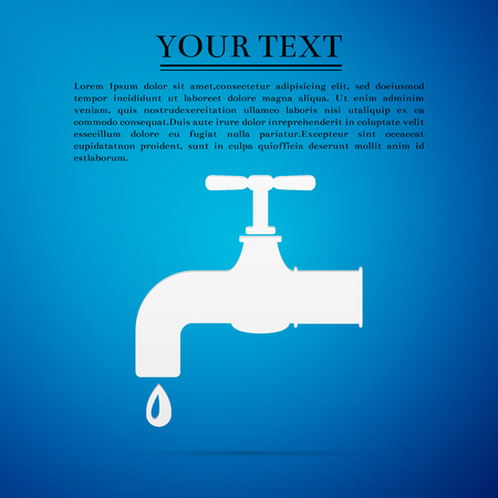 stopcock: Water tap flat icon on blue background. Vector Illustration