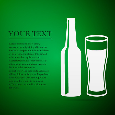 Bottle and glass of beer flat icon on green background. Vector Illustration