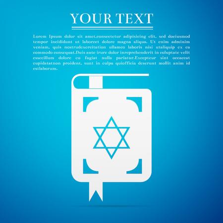Jewish torah book flat icon on blue background. Vector Illustration Illustration