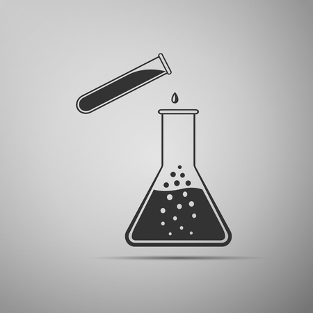 Test tube and flask - chemical laboratory test flat icon on grey background. Vector Illustration