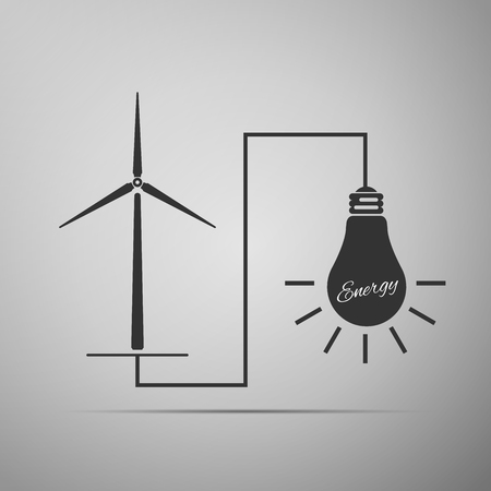 wind mills: Wind mill turbine generating power energy and glowing light bulb. Natural renewable energy production using wind mills simple flat icon on grey background. Vector Illustration Illustration