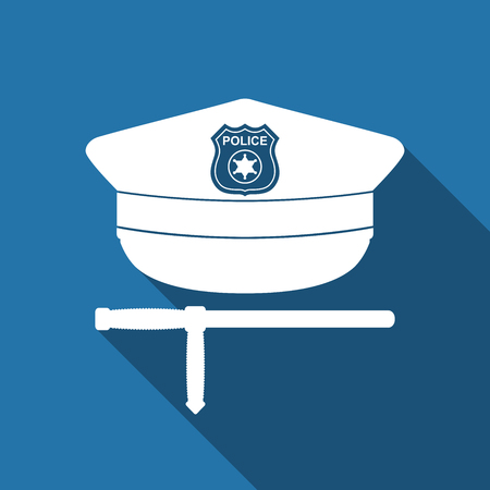 truncheon: Police cap and baton flat icon with long shadow. Policeman uniform. Vector Illustration Illustration