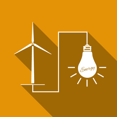wind mills: Wind mill turbine generating power energy and glowing light bulb. Natural renewable energy production using wind mills simple flat icon with long shadow. Vector Illustration