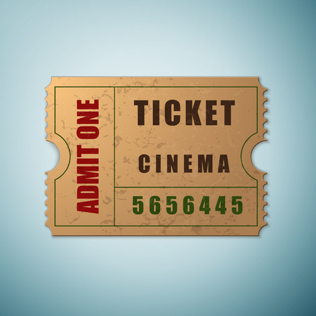 admit: Vintage paper admit one and ticket icon isolated on blue background. Vector Illustration