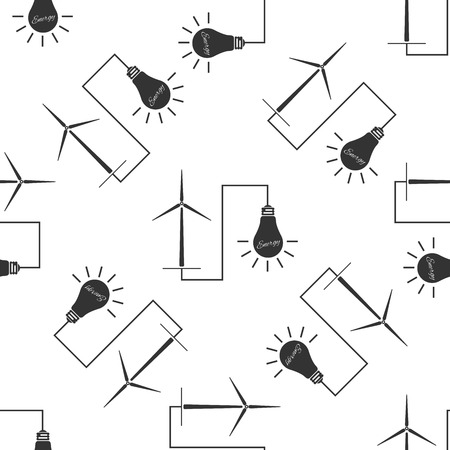 wind mills: Wind mill turbine generating power energy and glowing light bulb. Natural renewable energy production using wind mills simple icon seamless pattern on white background. Vector Illustration Illustration