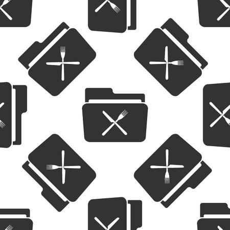 cross bar: Crossed fork over knife grey folder icon seamless pattern on white background. Vector Illustration Illustration