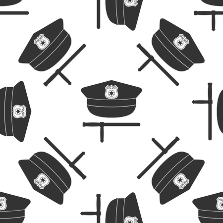 truncheon: Police cap and baton flat icon seamless pattern on white background. Vector Illustration Illustration