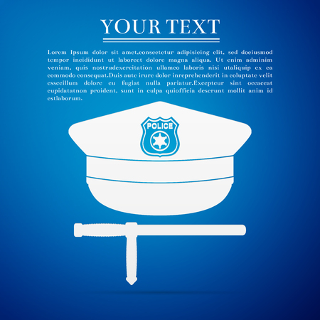 baton: Police cap and baton flat icon on blue background. Policeman uniform. Vector Illustration