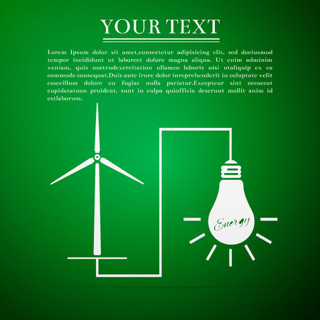 wind mills: Wind mill turbine generating power energy and glowing light bulb. Natural renewable energy production using wind mills simple flat icon on green background. Vector Illustration Illustration