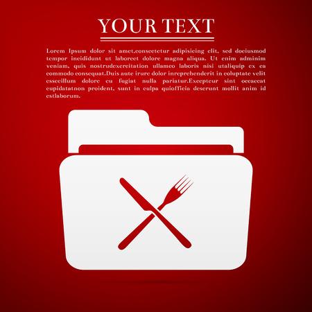 cross bar: Crossed fork over knife grey folder flat icon on red background. Vector Illustration
